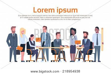 Group Of Business People Working Brainstorming, Businesspeople Team Sitting Together At Desk Discussing New Ideas Creative Process Flat Vector Illustration