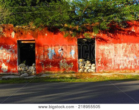 Red facade of a house ruins with trees inside in Yucatan, Mexico