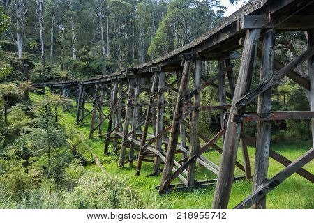 The Monbulk trestle bridge located in the Dandenong Ranges.