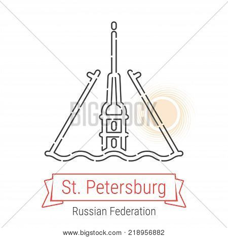 St. Petersburg, Russia Vector Line Icon with Red Ribbon Isolated on White. St. Petersburg Landmark - Emblem - Print - Label - Symbol. Peter and Pavel's Fortress Pictogram. World Cities Collection.