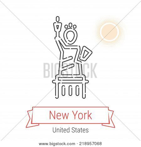 New York, United States Vector Line Icon with Red Ribbon Isolated on White. New York Landmark - Emblem - Print - Label - Symbol. The Statue of Liberty Pictogram. World Cities Collection.