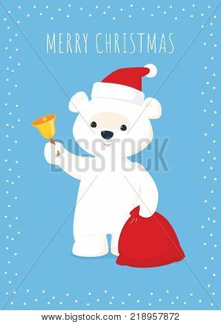 Vector Christmas illustration. White baby polar bear in a Santa hat holding a red sack and ringing a golden bell. Blue background. White text and frame. Vertical format.
