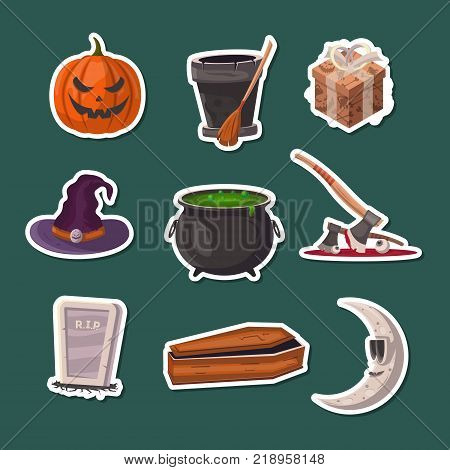 Halloween party icons. Potion cauldron, witch hat, coffin, rip gravestone, witch broom, executioner ax, halloween pumpkin head jack lantern, crescent moon vector illustration. Festive horror event.
