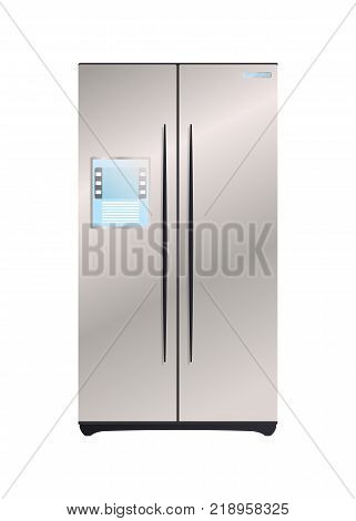 Two compartment refrigerator icon. Modern electronic appliance, realistic household device, kitchen interior equipment isolated vector illustration.