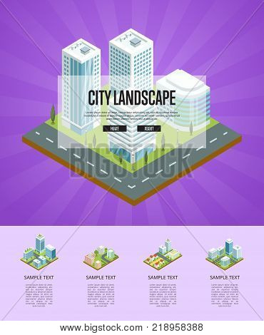 City landscape with big buildings isometric poster. Skyscrapers with shiny glass facades, city streets with urban infrastructure and green decorative plants. Downtown district vector illustration.