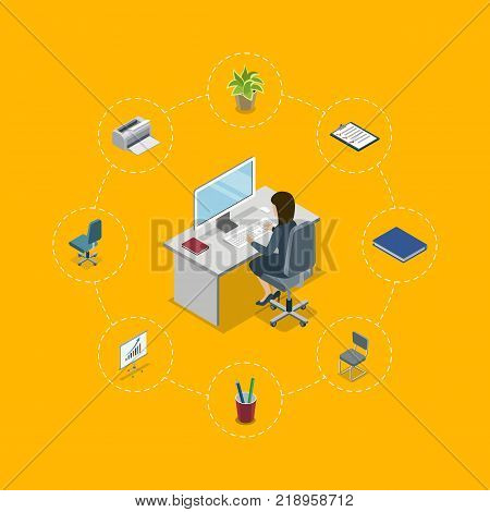 Busy secretary working in office at computer 3d isometric infographics. Corporate office workplace concept with business woman at table. Company professional occupation vector illustration.