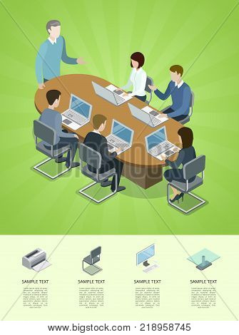 Business conference isometric 3D infographics. Together professional occupation, teamwork concept with business people at table. Office life, brainstorm or idea generation vector illustration.