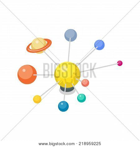Solar system model with planets for astronomy lesson 3d isometric icon. Primary school education vector illustration.