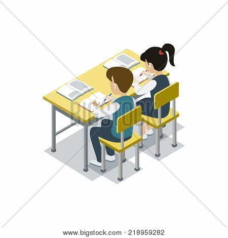 Children sit at desk in classroom and studying 3d isometric icon. Primary school education vector illustration.