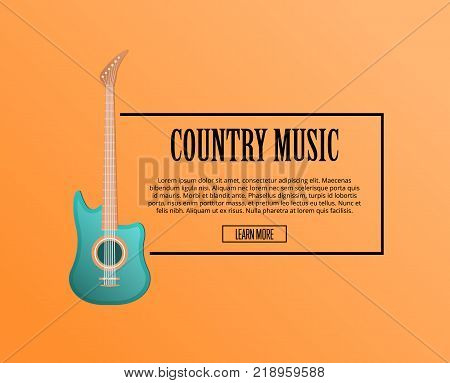 Country music poster with acoustic guitar in flat style. Musical instrument and entertainment sale advertising or musical festival symbol isolated on orange background vector illustration