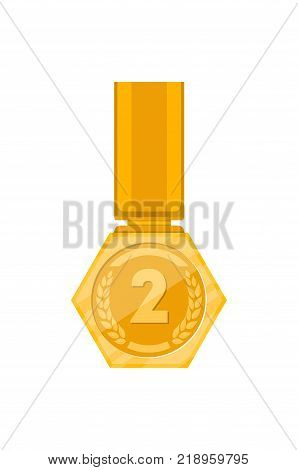 Second place golden medal with ribbon isolated on white background. Champion achievement medallion, award ceremony label, victory prize sticker, winner trophy vector illustration.