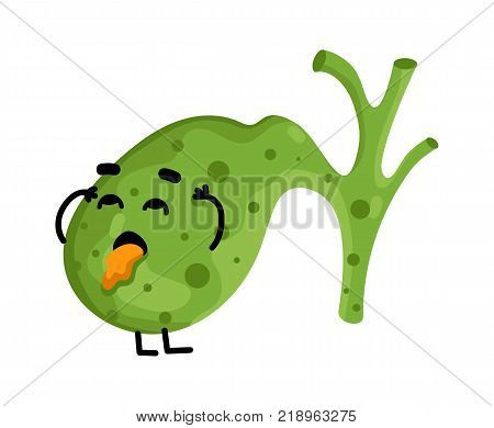 Human sick gallbladder cartoon character. Body anatomy element, health medical sign, internal organ, human body physiology isolated on white background vector illustration.