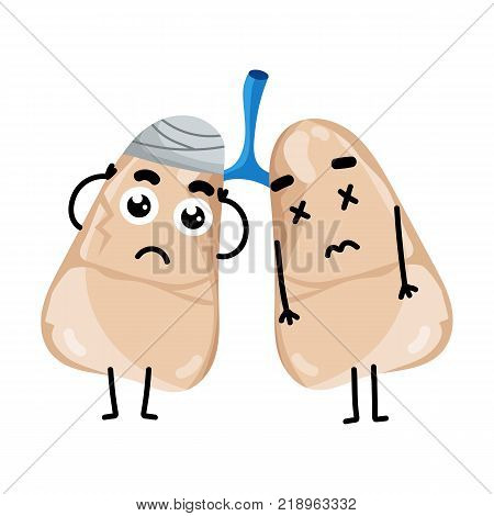 Human sick lungs cartoon character. Body anatomy element, health medical sign, internal organ, human body physiology isolated on white background vector illustration.