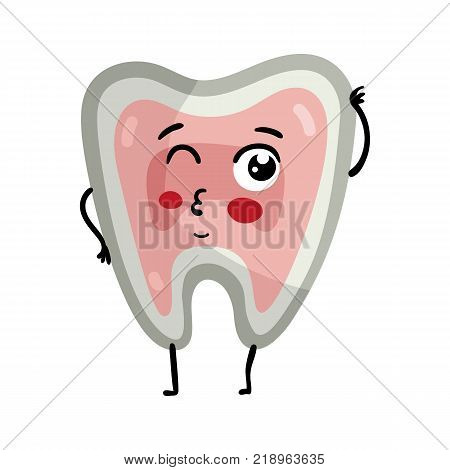 Human tooth cute cartoon character. Body anatomy element, health medical sign, internal organ, human body physiology isolated on white background vector illustration.