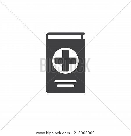 Medical reference book icon vector, filled flat sign, solid pictogram isolated on white. Symbol, logo illustration