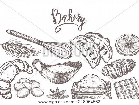Homemade bakery product vintage poster. Sweet pastry market advertising, bread product background, traditional natural food vector illustration. Croissant, puff, pie, bagel, cookie hand drawn sketches