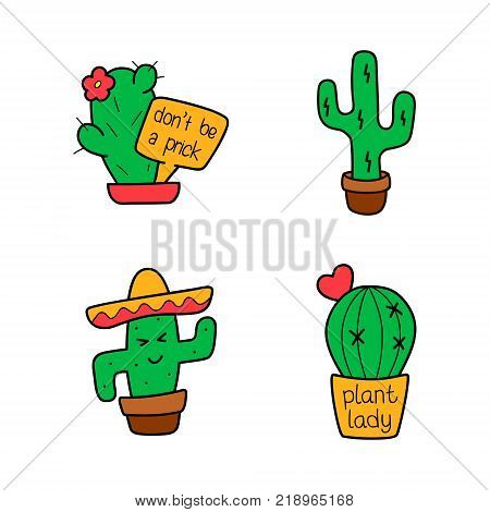 Cactus cartoon set vector isolated funny cute character collection color sticker patch badge