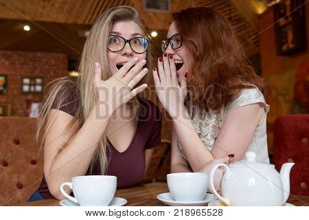 two young attractive girls with glasses gossiping behind a table in a cafe during tea time. Perky fun a surprised expression on their faces.
