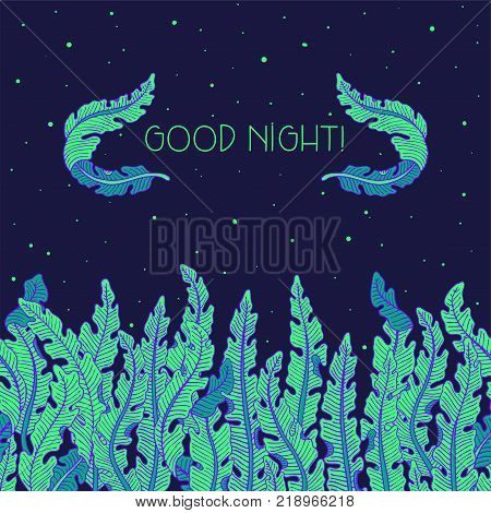 Hand Drawn Seamless Background With Green Tropical Banana Leaves On Night Sky. Green Foliage Border,