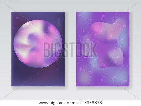 Abstract pale purple or violet space backgrounds with gradient planets, stardust and light connected stars or network for fashion flyer, brochure design. Creative posters set, covers design poster