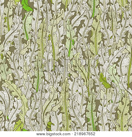Hand Drawn Seamless Pattern With Green Tropical Banana Leaves On Brown Background. Hand Drawn Jungle