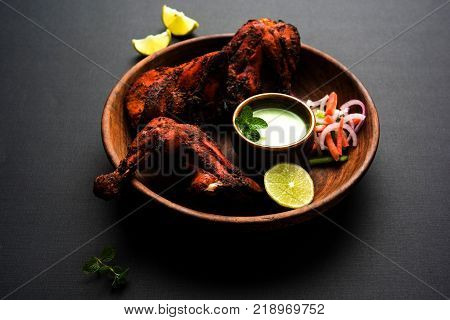 Tandoori Chicken Platter, popular north indian non vegetarian  food, usually served in restaurant