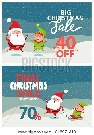 Final Christmas big sale holiday discount 40 70 off poster Santa and Elf riding on sleigh on winter landscape vector illustration advertisement banner