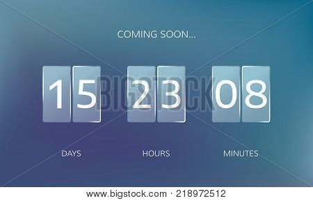 Modern design of a web countdown banner. Concept flat countdown counter. Vector illustration on blur background