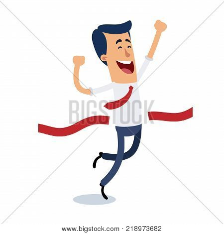 A businessman reaches the finish line, he is very happy to get your objectives