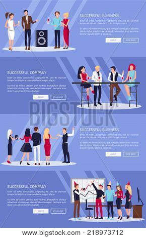 Successful company and business, pictures used for web pages, with buttons and text, workers celebrating together vector illustration