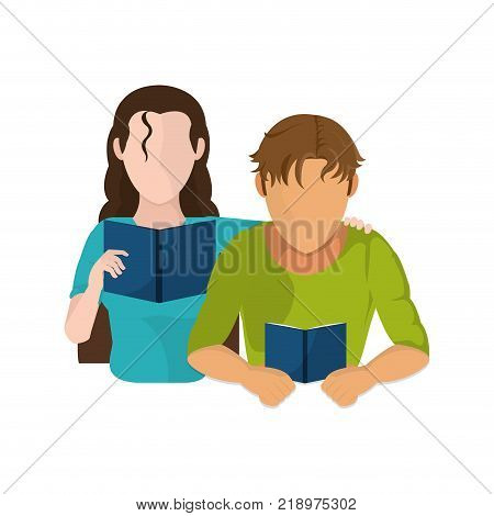 Woman and man reading of education literature and read theme Isolated design Vector illustration