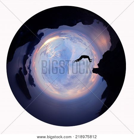 Asian girls somersault on the mountain of archipelago island Thailand with sunset sky Circle design image.