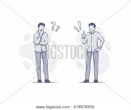 Man thinking and getting an idea with question and exclamation marks. Problem solving flat linear vector concept for info graphics or business presentations. Full-length blue line character illustration isolated on white background