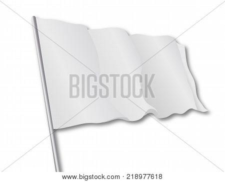 Isolated white flag, vector art illustration symbol truce.