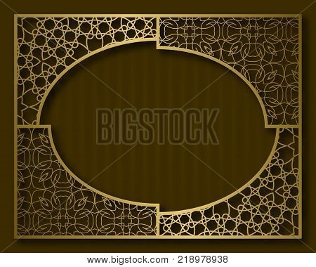 Vintage golden frame in oriental style. Certificate, nameplate or greeting card background template.