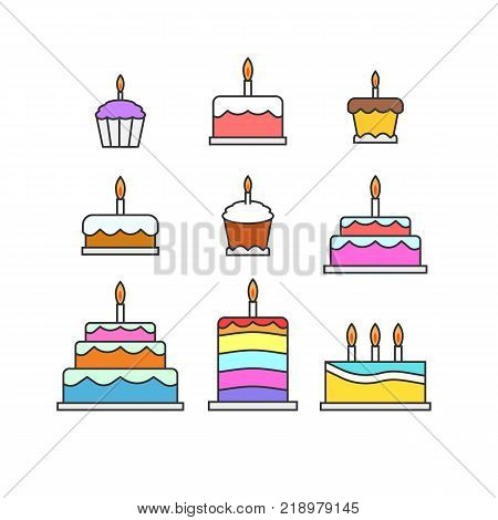 Colorful cakes muffins pies glazed dessert sweets illustration set