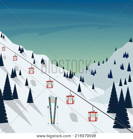 Ski Resort Snow Mountain Landscape, Ski Lifts. Winter Landscape With Ski Slope Covered With Snow, Tr