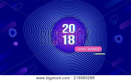 Transformation of lines with opacity curve shapes design background. Vector colorful New Year banner