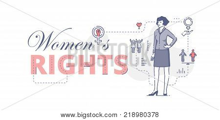 Illustrative typography horizontal banner with words 'Women's rights' and woman standing akimbo. Women's empowerment related vector flat linear design concept