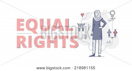 Illustrative typography horizontal banner with words 'Equal rights' and Muslim woman standing akimbo. Women's empowerment related vector flat linear design concept