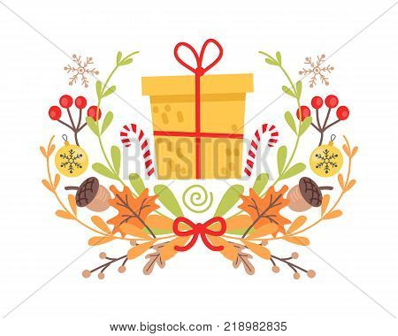 Pretty yellow christmas badge on white background. Vector illustration of holiday decor elements autumn leaves, red guelder roses and small acorns. Wreath surround big present and two striped canes