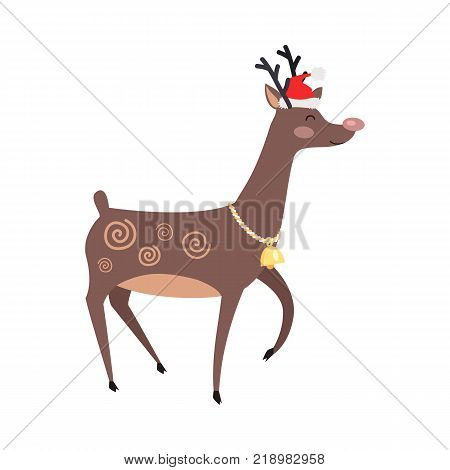 Big reindeer with golden bell and red hat on white background. Santa s helper as element of decor for encouragement customers in big supermarkets. Cute horned mammal animal vector illustration