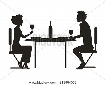 Couple dining together, drinking wine sitting at table with bottle, dark silhouettes of man and woman isolated on white vector illustration
