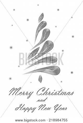 black elegant Christmas tree on white background, vertical