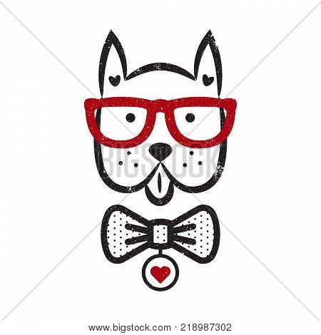 Cute gentleman dog hipster tshirt design vector. Puppy head textured with bow tie and glasses.