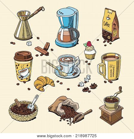 Coffee set coffeebeans and coffeecup vector drink hot espresso or cappuccino in coffeeshop and mug with caffeine in bar illustration isolated on background.
