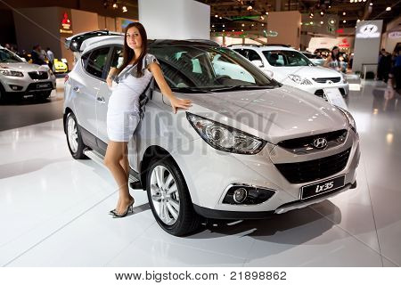 Moscow, Russia - August 25:  Grey Jeep Hyundai  Ix35 At Moscow International Exhibition Interauto On