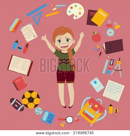 Elementary or middle school ginger schoolgirl. Supplies from girls backpack notebooks, planner, pencil case textbook apple ball for soccer and rugby. School infographics set of elements. Vector flat style illustration