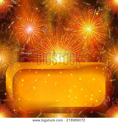 Holiday Background with Orange Colorful Fireworks, Confetti, Streamers and Golden Banner. Eps10, Contains Transparencies. Vector