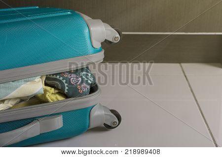 Travel Trolley Luggage Bag. Closeup Of Security Lock.